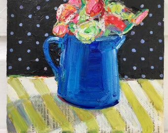 Blue Pitcher Bouquet orginal acrylic mixed media still life painting by Polly Jones