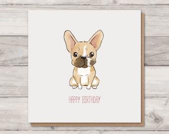 French Bulldog Birthday Card | Frenchie Card | Card for Girlfriend | Frenchie Lover | Cute Birthday Card