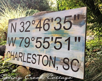 Signs, Coordinates, Latitude & Longitude, Lake, Beach, Wood Signs, Handpainted, Home Decor, Personalized Signs, Custom Signs