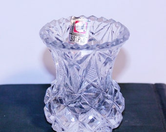 Vintage Made in Italy Lead Crystal Toothpick Holder, Crystal Table Decor