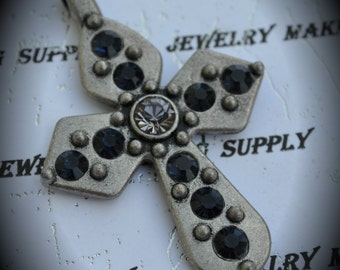 Silver Cross Pendant With Navy Blue Black Diamond Crystals