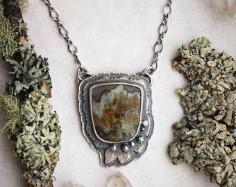 ON SALE! The Breath of Trees Necklace - Prudent Man Agate Leaf Pendant - Silversmith  Jewelry - Artisan Metalwork - Rustic Woodland Jewelry