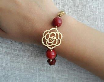Red bead bracelet, ruby bracelet, gemstone bracelet, gold bracelet, trending jewelry, mothers day, gift for friend, girlfriend birthday gift