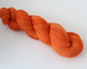 Pumpkin Orange, Hand dyed Merino Sock 75/25 sw merino/nylon