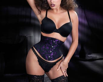 PUIMOND PY01 Purple Roses Coutil Brocade Tightlacing Cincher Corset Size 22 NEW In-stock