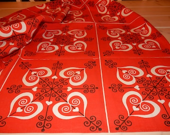 Beautiful swedish hand printed table cloth  / typical 1960s  textile /retro  / vintage