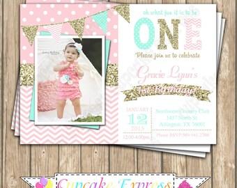 Girls First Birthday invitation first birthday girl pink and