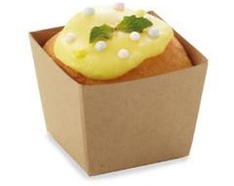 24 Square Craft Light Brown Bake In Cups Cupcake Liners Muffin Recycled Paper Greaseproof Wrappers