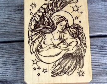 Wood Mounted Rubber Stamp Angel Destash