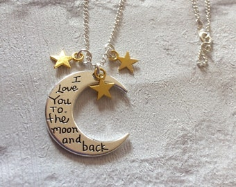 I love you to the moon and back bangle bracelet anniversary moon and back silver necklace silver necklace mothers day gift moon pendent mozeypictures Choice Image