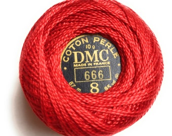 DMC 666- Perle Cotton Thread Size 8 Bright Red - Great to use with Felt