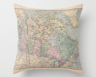 Canada Pillow,  1913 map of Canada - home decor, pastel, Oh Canada , decorator, dorm, travel decor map, Ontario, Toronto