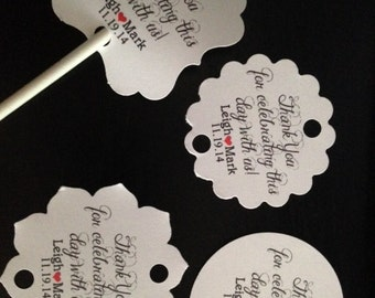 Cake Pop Wedding Favor Thank You Tags Personalized Thank You Celebrating With Us Cake Pop Gift Tags