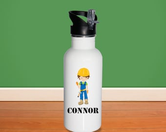 Construcion Kids Water Bottle - Construction Worker Boy with Name, Child Personalized Stainless Steel Bottle BPA Free Back to School