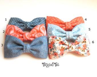 Steel Blue Coral Bow Tie, Steel Blue Mismatch Bow Ties, Blue Coral Mismatch Wedding Bow Ties
