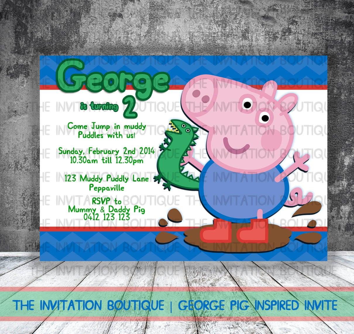 George Pig Dinosaur Invitation Peppa Pig