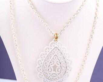 1970s Trifari White Enamel Necklace