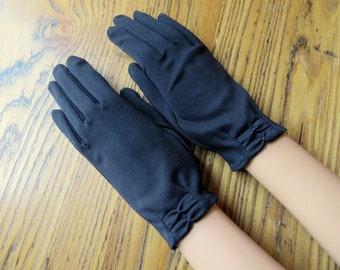 Vintage Black Dress Gloves, Vintage Gloves,  Black Gloves, Dress Gloves, Bows At Wrist, Vintage Fashion,  Mad Men Style, 50's Style