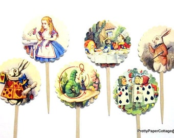 Alice in Wonderland Cupcake Toppers, Mad Hatter, Tea Party, Bridal Shower, Baby Shower, Birthday Party, Choose Quantity