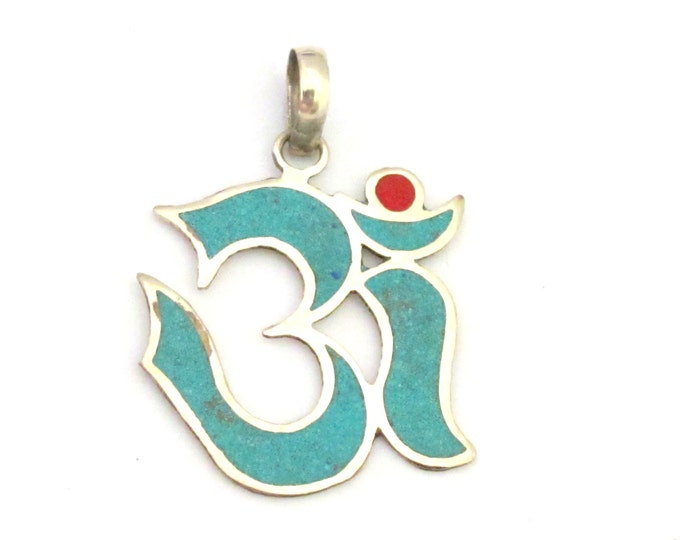 Sanskrit Om pendant  with turquoise and coral inlay - PM287B
