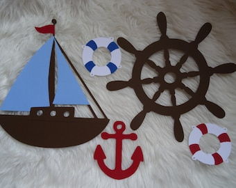 Large Nautical Decoration Set, Sailboat, Anchor, Helm, Life Preserver