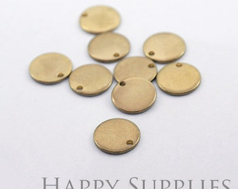 20Pcs High Quality Raw Brass Round Pendant Charms / Connector with a Hole (ZG133)
