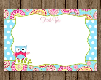 INSTANT DOWNLOAD Thank You, note card, thanks, gift, Baby Shower, Paisley, Polka Dot, Aqua, Pink, Owl, printable JPEG pdf for print