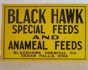 "Vintage 1940's BLACK HAWK ANAMEAL feeds pig cow feed farm 18"" metal sign"