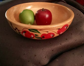 A beautiful wood bowl with Hand Painted Cherries made in Japan