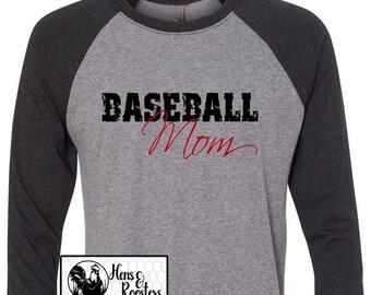 Baseball Mom Shirt,  Baseball Is His World, He Is Mine Unisex Raglan / Baseball T-Shirt- GREAT For Practice or the Game! (NL6051) #1345