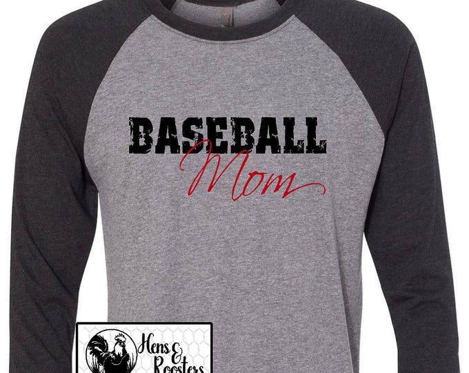 Baseball Mom Shirt,  Baseball Is His World, He Is Mine Unisex Raglan / Baseball T-Shirt- GREAT For Practice or the Game! (NL6051) #1345