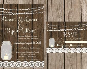 Rustic Wedding Invitation, Mason Jar Wedding Invitation, Lace Wedding Invitaiton, Country Wedding Invitation, Barn Wedding Invitaiton