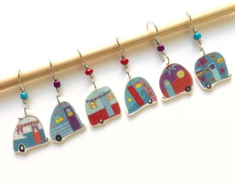 Road Trip! retro mini trailer stitch markers, whimsical knitting accessory, fun gift for knitters
