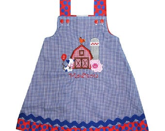 GIRL'S Old McDonald's Farm Barn, Silo, Cow and Pig Dress or Outfit Perfect Also for Birthdays