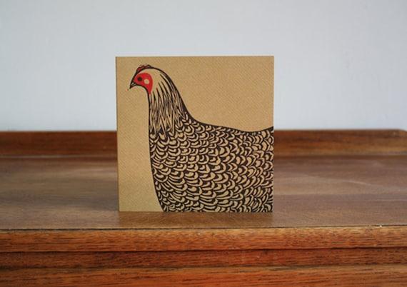 Hen, Original Hand Printed Card, Linocut Card, Blank Greeting Card, Brown Kraft Card, Free Postage in UK,