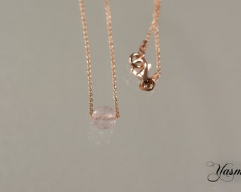 Rose Quartz faceted rose gold plated on 925 Silver