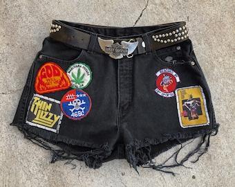 Evil Ways vintage patched up Harley Davidson denim shorts