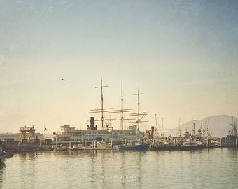 Ship Photo, San Francisco Photography, Tall Ships Nautical Decor, Boat Print, Large Wall Art, SF Pier, Blue, Ship Picture