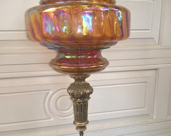 Carnival Glass Hanging Lamp
