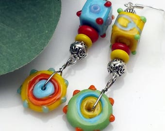 Primary Colors on These Fun Lampwork Beads, Boxes and Swirls and Wheels, Oh My! NE213