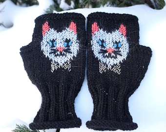 Hipster Cat / Fingerless gloves with Cat head /  Women's Kitty Cat gloves / Embroidered mittens / Black Cat face gloves / Wool Cat Mittens