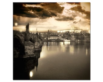 Charles Bridge, Prague, Czech Republic, Prague Castle, Bridge, Copper Sky, Prague print, Fine Art Photography,