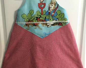 Peter Rabbit Race Back Dress, Birthday or special event dress with a Beatrix Potter vintage fabric insert, Peter Rabbit party, 12m-12yrs