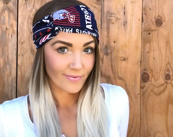 New England Patriots Vintage Style Turban Headband || Hair Band Accessory Cotton Workout Yoga Fashion Red Navy Blue White Head Scarf Girl