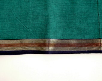 Handloom cotton fabric in Teal - One yard Yard  VMC 12