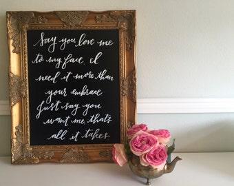 Calligraphy Wedding Song Lyrics Anniversary Gift