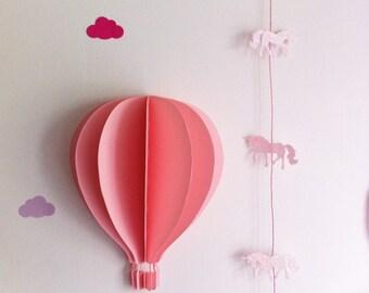 Hot air balloon 3D wall - big model 27 cm high