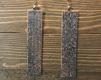 4 inch Silver Sparkle Rectangle Earrings