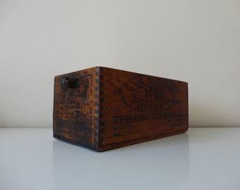 VINTAGE dovetailed wood CARTER'S ink BOX - home storage - rustic display