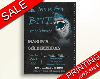 Shark Birthday Invitation Shark Birthday Party Invitation Shark Birthday Party Shark Invitation Boy blue shark boy shark party GS0R1